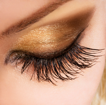 Gold Rush: Add some shimmer and eyelash extensions for the ultimate wow look