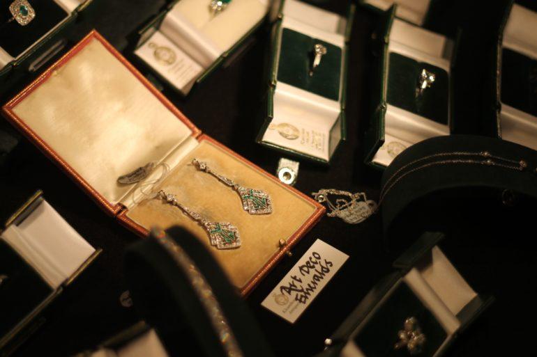 1920's diamond and emerald earrings