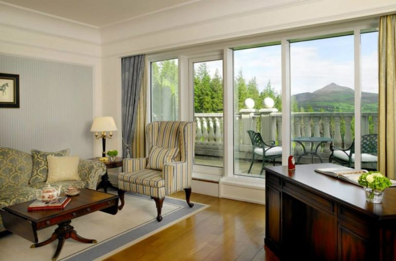 The suites offer views of the Wicklow Mountains