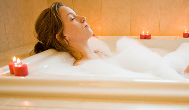Relaxing in a bath before bedtime can really help
