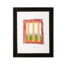 The Window: This sketch depicts an idealised view of Table Mountain through the bars of a prison cell on Robben Island, and resembles freedom and beauty to Nelson Mandela