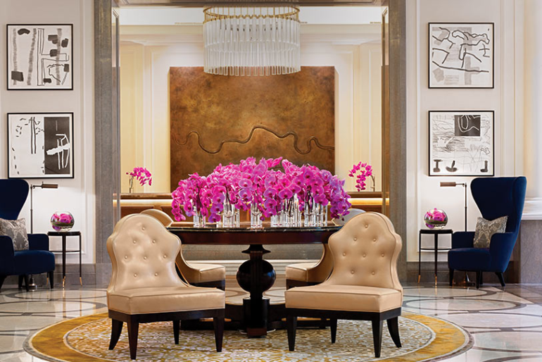 The hotel's interior has a luxury and chic feel