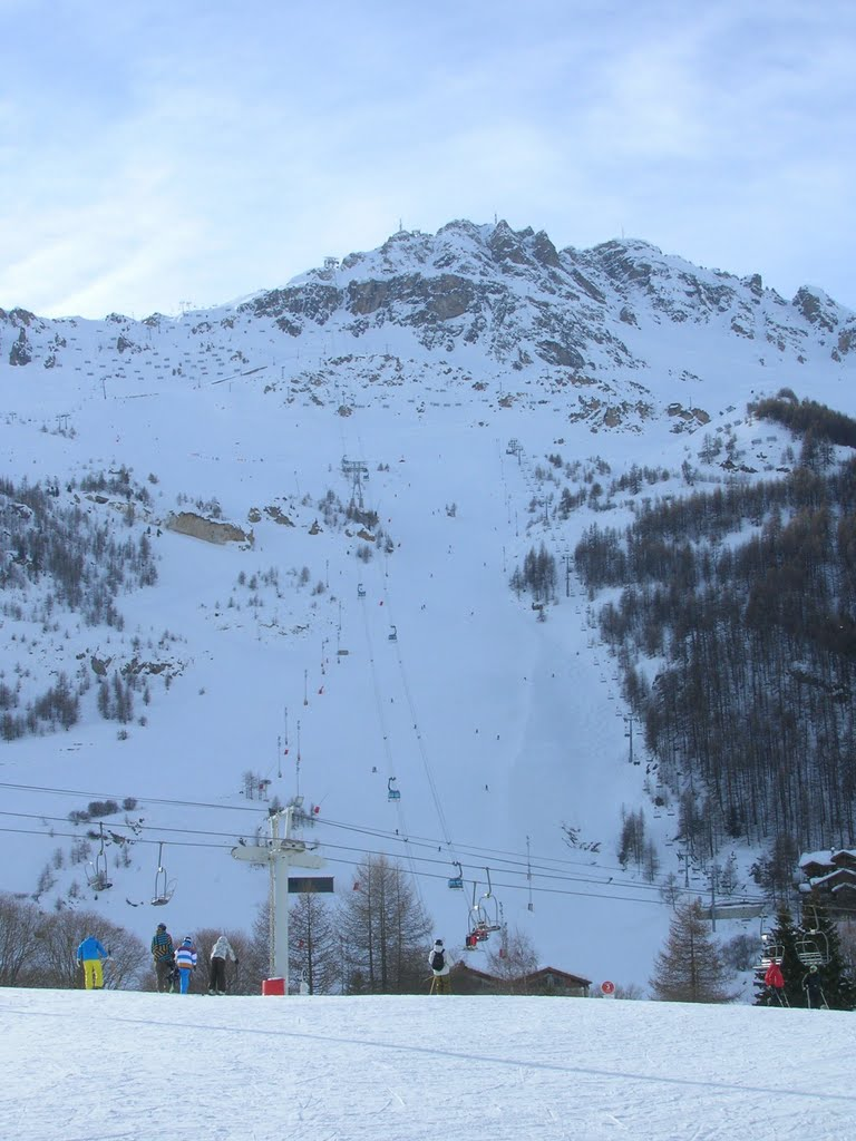 Skiing in the French resort of Val d'Isere