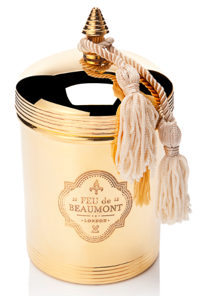 Feu De Beaumont feu de beaumont: luxury, gold-plated scented candles