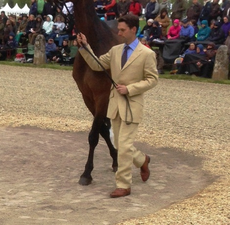 Harry Meade opts for a beige suit with a blue shirt