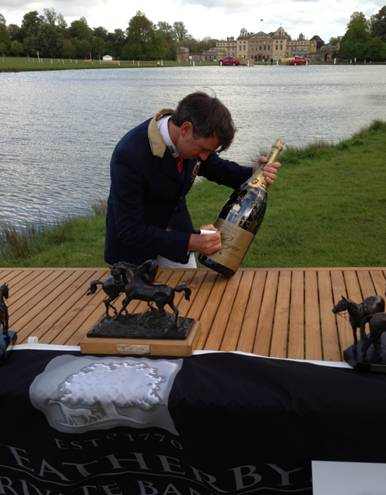 """The """"large magnum"""" (Alice Plunkett's description), of Pol Roger was signed by many of the riders (inc Team New Zealand's Tim Price, who lives locally to The Outside Chance pub near Marlborough) at the EHOA dinner and will be auctioned off at a later stage to help raise money for Claire Lomas."""