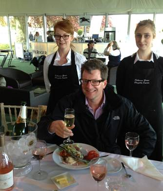 The hardest food critic to please, William Sitwell, enjoying his lunch prepared by Outside Chance Master Chef Rebecca Green