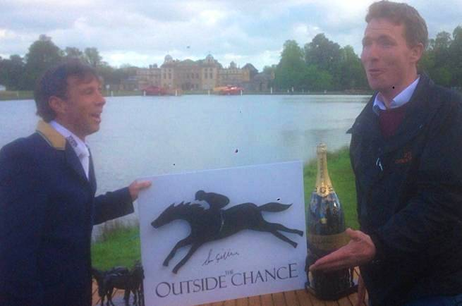 Outside Chance owner Freddie Tulloch is slightly surprised by Badminton champion Sam's choice of menu for next year's EHOA's dinner