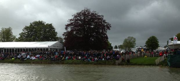 The weather didn't seem to put people off from watching from The Outside Chance