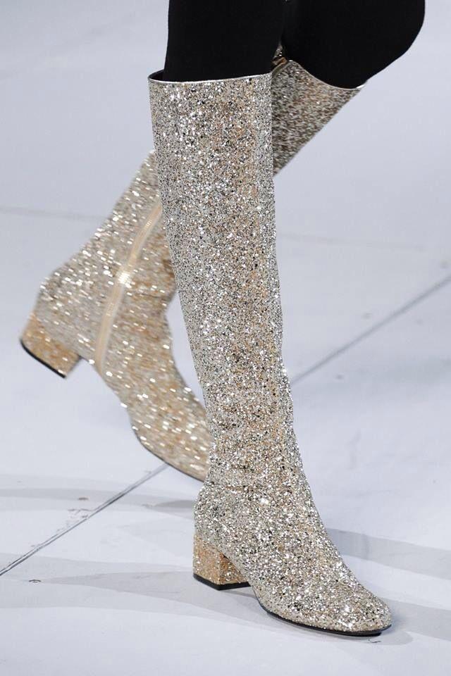 Glitter boots by Saint Laurent