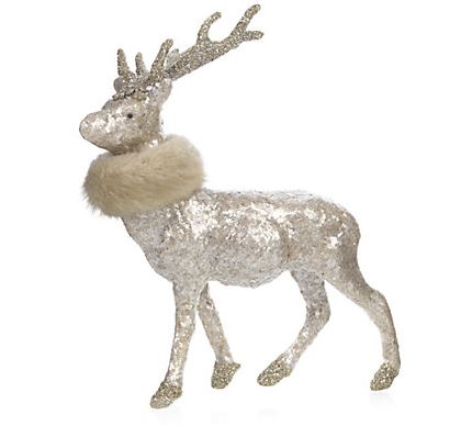 Mica Deer With Faux Fur Collar