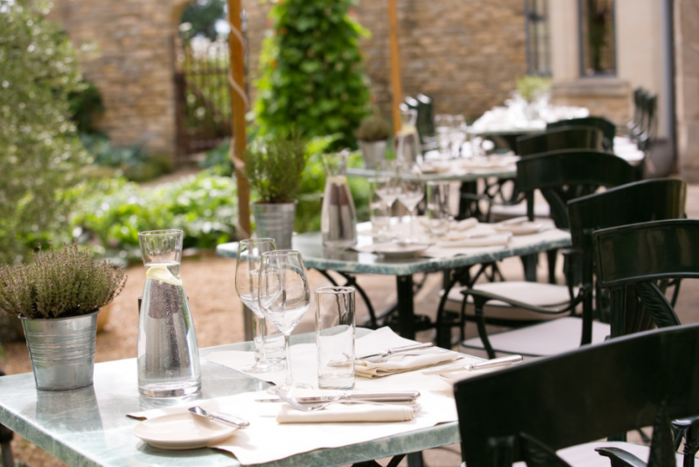 The terrace at Whatley Manor