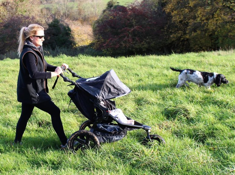 Laura heading off road with the Britax Revolution Pro, which is a brilliant running pushchair